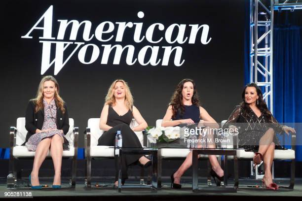 Actors Alicia Silverstone Mena Suvari and Jennifer Bartels and executive producer Kyle Richards of 'American Woman' speak onstage during the...