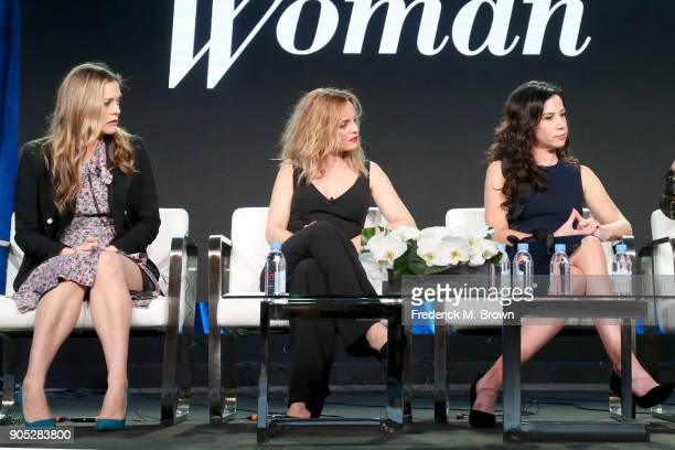 Actors Alicia Silverstone Mena Suvari and Jennifer Bartels of 'American Woman' speak onstage during the Paramount Network portion of the 2018 Winter...