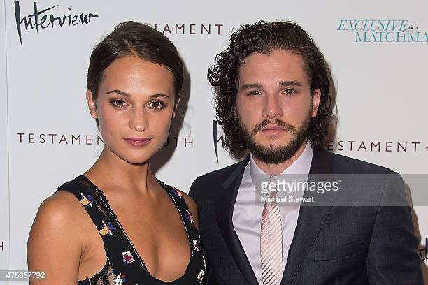 Actors Alicia Vikander and Kit Harington attend the Testament Of Youth New York Premiere at Chelsea Bow Tie Cinemas on June 2 2015 in New York City