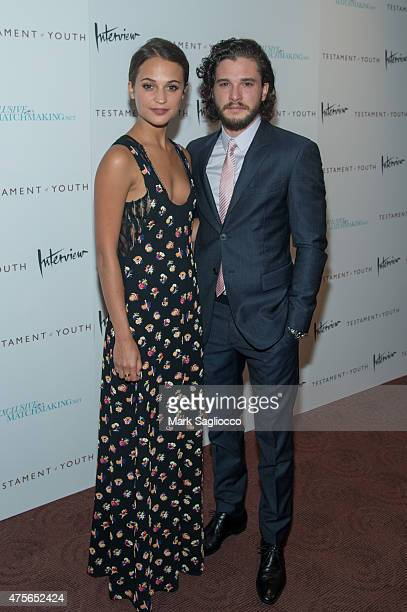 Actors Alicia Vikander and Kit Harington attends the Testament of Youth New York Premiere at the Chelsea Bow Tie Cinemas on June 2 2015 in New York...
