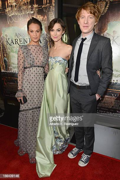 Actors Alicia Vikander Keira Knightley and Domhnall Gleeson attend the premiere of Focus Features' 'Anna Karenina' held at ArcLight Cinemas on...