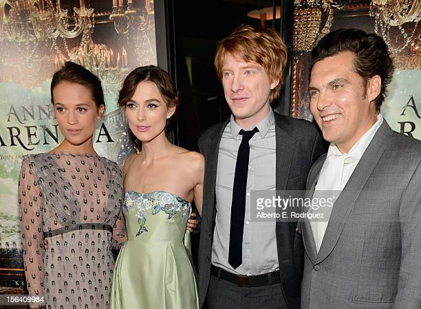 Actors Alicia Vikander Keira Knightley Domhnall Gleeson and director Joe Wright attend the premiere of Focus Features' Anna Karenina held at ArcLight...