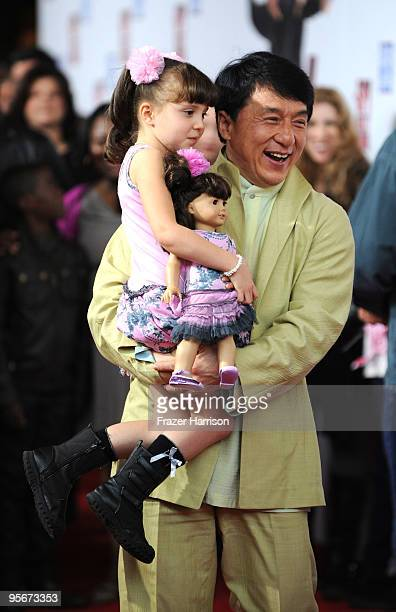 Actors Alina Foley and Jackie Chan arrive at the premiere of Lionsgate Relativity Media's 'The Spy Next Door' held at the Grove on January 9 2010 in...