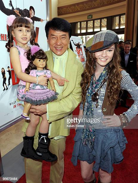 Actors Alina Foley Jackie Chan and Madeline Carroll arrive at the premiere of Lionsgate and Relativity Media's 'The Spy Next Door' at The Grove on...