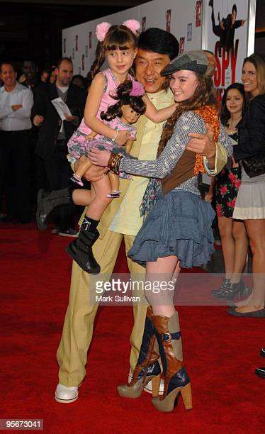 Actors Alina Foley Jackie Chan and Madeline Carroll attend the Los Angeles premiere of 'The Spy Next Door' at The Grove on January 9 2010 in Los...