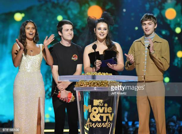 Actors Alisha Boe Dylan Minnette Katherine Langford and Miles Heizer attend the 2018 MTV Movie And TV Awards at Barker Hangar on June 16 2018 in...