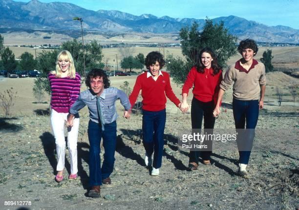 Actors Alison Arngrim, unknown, Jonathan Gilbert, Rad Daly and Melissa Gilbert at a press photo call, Malibu, California, 12th August 1980.
