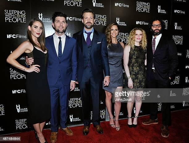 Actors Alison Brie Adam Scott Jason Sudeikis Andrea Savage Natasha Lyonne and Jason Mantzoukas attend the Los Angeles premiere of IFC Films 'Sleeping...