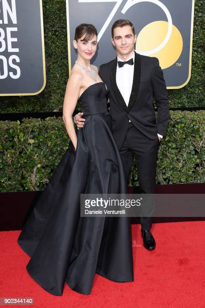 Actors Alison Brie and Dave Franco attend The 75th Annual Golden Globe Awards at The Beverly Hilton Hotel on January 7 2018 in Beverly Hills...