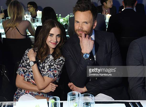 Actors Alison Brie and Joel McHale attend the IWC Schaffhausen Third Annual 'For the Love of Cinema' Gala during the Tribeca Film Festival on April...
