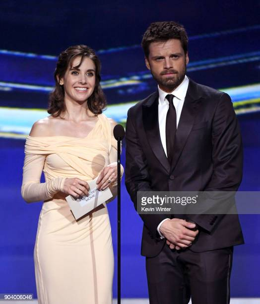 Actors Alison Brie and Sebastian Stan speak onstage during The 23rd Annual Critics' Choice Awards at Barker Hangar on January 11 2018 in Santa Monica...