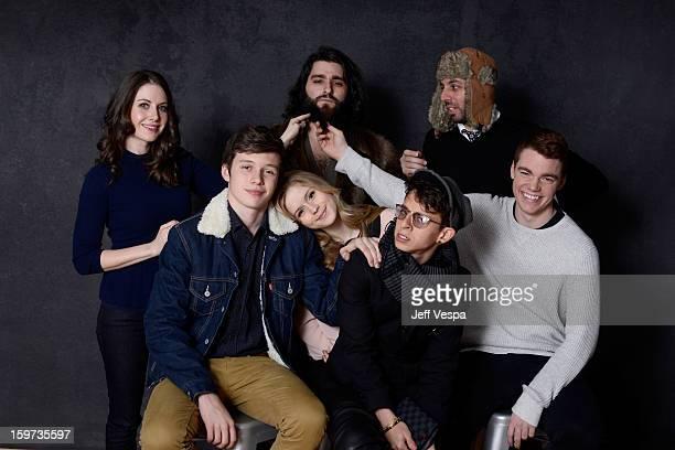 Actors Alison Brie Nick Robinson filmmaker Jordan VogtRoberts actors Erin Moriarty Moises Arias writer Chris Galletta and actor Gabriel Basso pose...