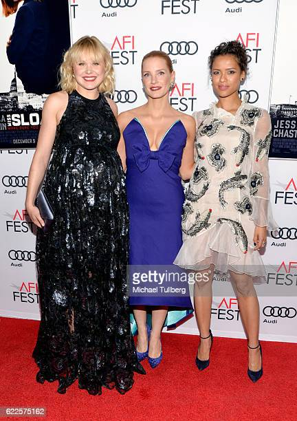 Actors Alison Pill Jessica Chastain and Gugu MbathaRaw attend the premiere of EuropaCorp USA's 'Miss Sloane' at AFI Fest 2016 presented by Audi at...
