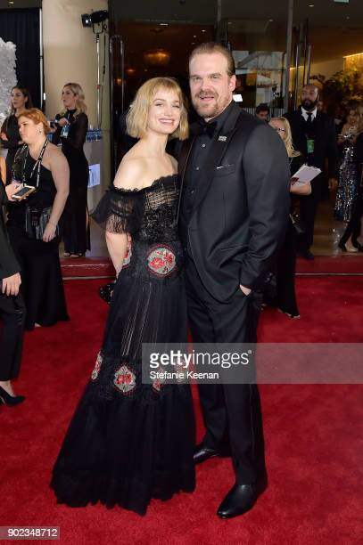 Actors Alison Sudol and David Harbour attend The 75th Annual Golden Globe Awards at The Beverly Hilton Hotel on January 7 2018 in Beverly Hills...