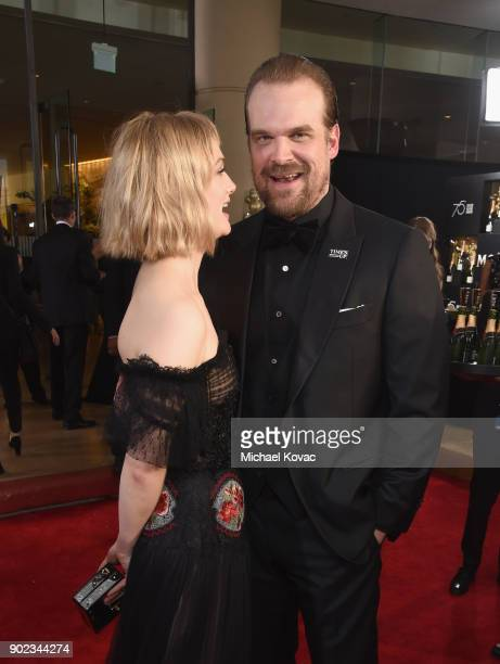 Actors Alison Sudol and David Harbour celebrate The 75th Annual Golden Globe Awards with Moet Chandon at The Beverly Hilton Hotel on January 7 2018...