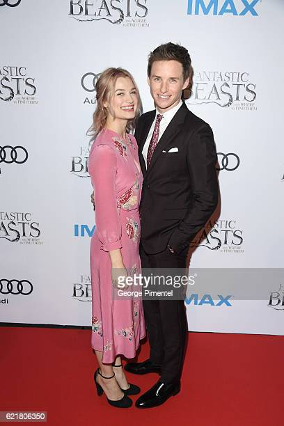 Actors Alison Sudol and Eddie Redmayne attend 'Fantastic Beasts And Where To Find Them' Canadian Premiere at YongeDundas Square on November 8 2016 in...