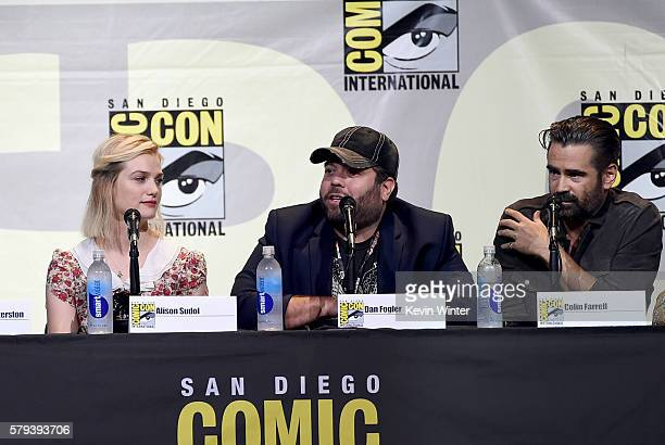 Actors Alison Sudol Dan Fogler and Colin Farrell attend the Warner Bros 'Fantastic Beasts and Where to Find Them' Presentation during ComicCon...