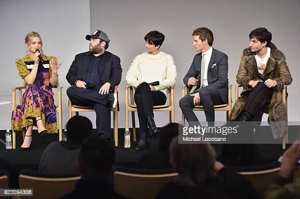 Actors Alison Sudol Dan Fogler Katherine Waterston Eddie Redmayne and Ezra Miller attend the Apple Store Soho presentation of Meet the Cast...
