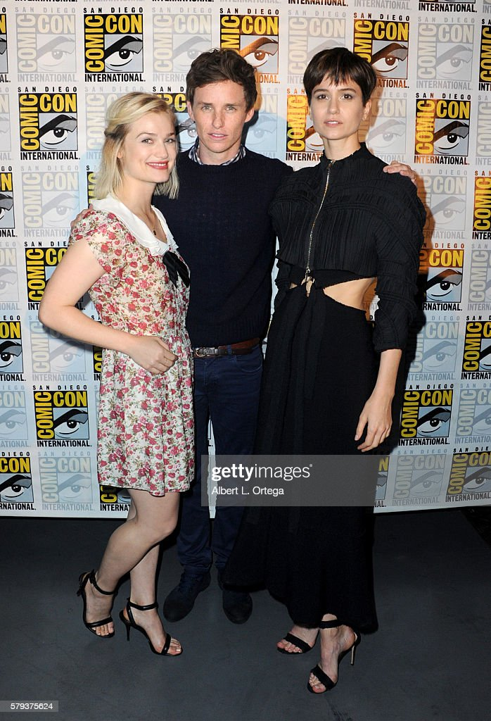 Actors Alison Sudol, Eddie Redmayne and Katherine Waterston attend the Warner Bros. Presentation during Comic-Con International 2016 at San Diego Convention Center on July 23, 2016 in San Diego, California.