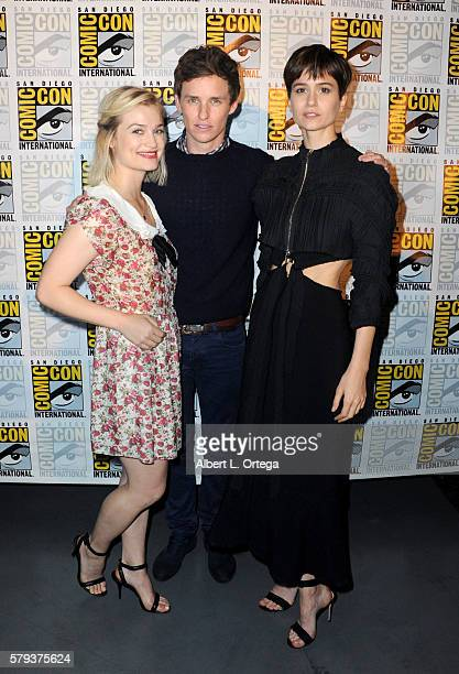 Actors Alison Sudol Eddie Redmayne and Katherine Waterston attend the Warner Bros Presentation during ComicCon International 2016 at San Diego...