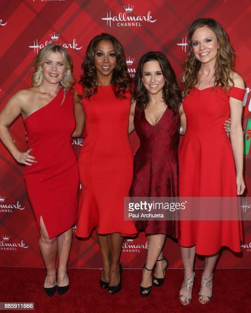 Actors Alison Sweeney Holly Robinson Peete Lacey Chabert and Rachel Boston attend the Hallmark Channel's Countdown To Christmas Celebration and VIP...