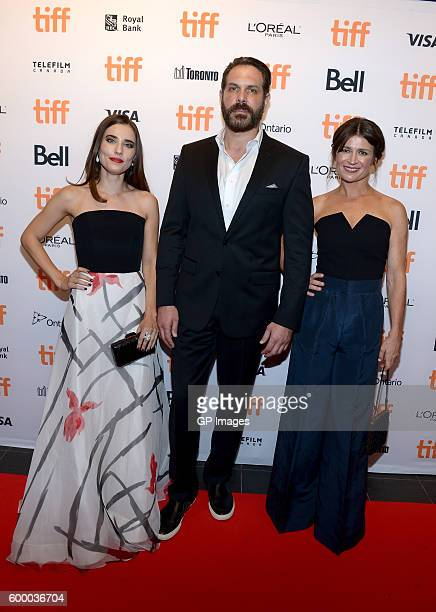 Actors Alix Angelis David Kallaway and Carrie Lazar attend the TIFF Soiree during the 2016 Toronto International Film Festival at TIFF Bell Lightbox...