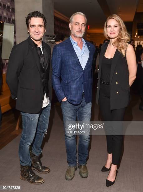 Actors Allan Hawco Paul Gross and Tori Anderson attend after party at CBC hosts world premiere of 'Caught' at TIFF Bell Lightbox on February 26 2018...
