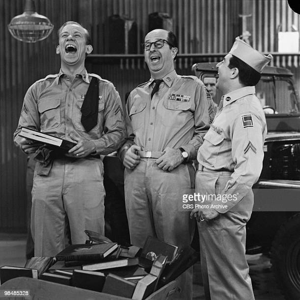 Actors Allan Melvin as Cpl Steve Henshaw Phil Silvers as MSgt Ernest G 'Ernie' Bilko and Harvey Lembeck as Cpl Rocco Barbella on 'The Phil Silvers...
