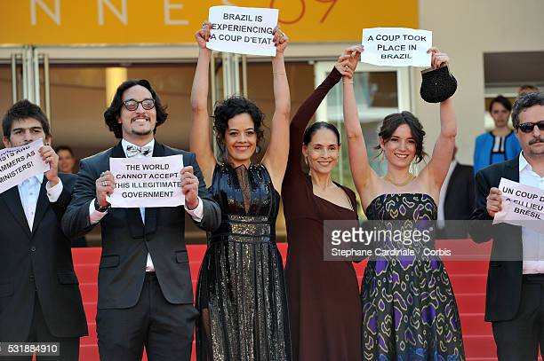 Actors Allan Souza Maeve Jinkings Emilie Lesclaux and director Kleber Mendonca Filho attend the 'Aquarius' premiere during the 69th annual Cannes...