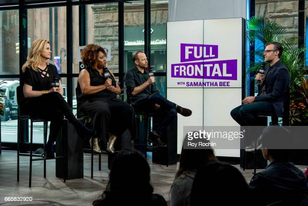 Actors Allana Harkin Ashley Nicole Black and Mike Rubens discuss Full Frontal With Samantha Bee at Build Studio on April 7 2017 in New York City