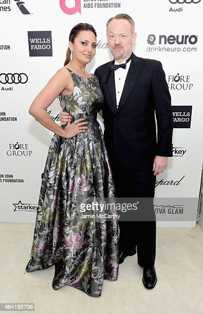 Actors Allegra Riggio and Jared Harris attend the 23rd Annual Elton John AIDS Foundation Academy Awards Viewing Party on February 22 2015 in Los...