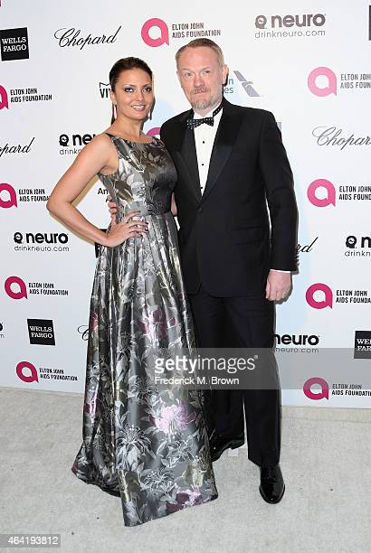 Actors Allegra Riggio and Jared Harris attend the 23rd Annual Elton John AIDS Foundation's Oscar Viewing Party on February 22 2015 in West Hollywood...