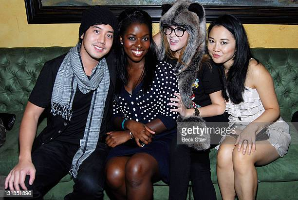 Actors Allen Evangelista with actresses Camillle Winbush Renee Olstead and Amy Rider of Secret LIfe of an American Teenager attend The Serpentine...