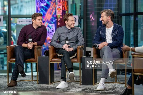 Actors Allen Leech Joseph Mazzello and Gwilym Lee discuss Bohemian Rhapsody with the Buld Series at Build Studio on October 30 2018 in New York City