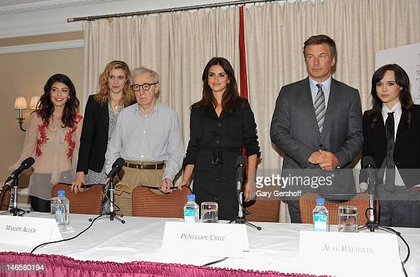 Actors Allesandra Mastronardi Greta Gerwig director Woody Allen and actors Penelope Cruz Alec Baldwin and Ellen Page attend the 'To Rome With Love'...