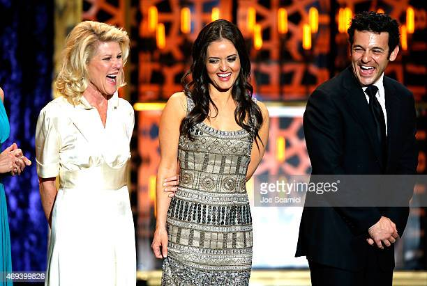 Actors Alley Mills Danica McKellar and Fred Savage speak onstage during the 2015 TV Land Awards at Saban Theatre on April 11 2015 in Beverly Hills...