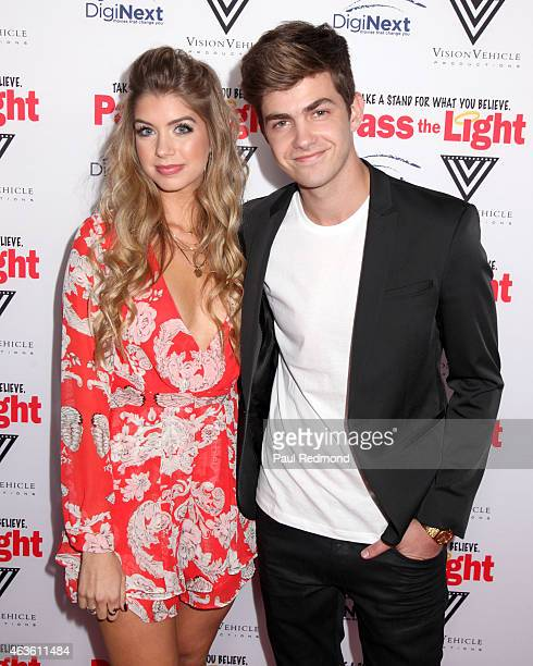 Actors Allie DeBerry and Cameron Palatas arriving at the premiere of 'Pass The Light' at ArcLight Cinemas on February 2 2015 in Hollywood California