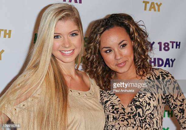 Actors Allie DeBerry and Savannah Jayde attend Taylor Spreitler 18th Birthday Party at Crimson on October 21 2011 in Hollywood California