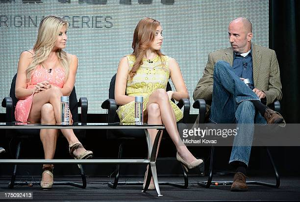 Actors Allison Dunbar Alexia Dox and Robert 'Bob' Clendenin speak onstage during the 'Quick Draw' portion of the Hulu 2013 Summer TCA Tour at The...