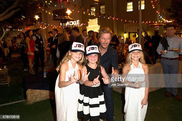 Actors Allison Gobuzzi Chloe Guidry David Spade and Lauren Gobuzzi attend the world premiere of Crackles Joe Dirt 2 Beautiful Loser at Sony Pictures...