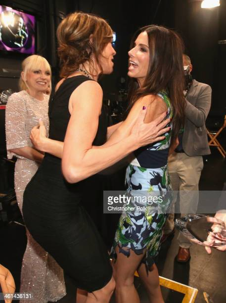 Actors Allison Janney and Sandra Bullock attend The 40th Annual People's Choice Awards at Nokia Theatre LA Live on January 8 2014 in Los Angeles...