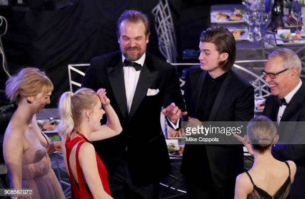 Actors Allison Sudol Maika Monroe David Harbour and Joe Keery during the 24th Annual Screen Actors Guild Awards at The Shrine Auditorium on January...