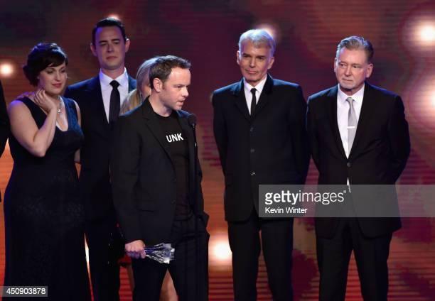 Actors Allison Tolman Colin Hanks executive producer Noah Hawley actor Billy Bob Thornton and executive producer Warren Littlefield accept the Best...