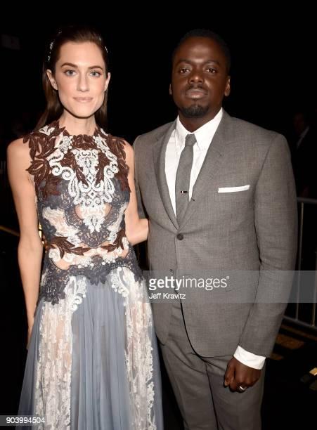 Actors Allison Williams and Daniel Kaluuya attend The 23rd Annual Critics' Choice Awards at Barker Hangar on January 11 2018 in Santa Monica...