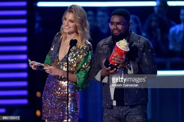 Actors Allison Williams and LilRel Howery speak onstage during the 2017 MTV Movie And TV Awards at The Shrine Auditorium on May 7 2017 in Los Angeles...
