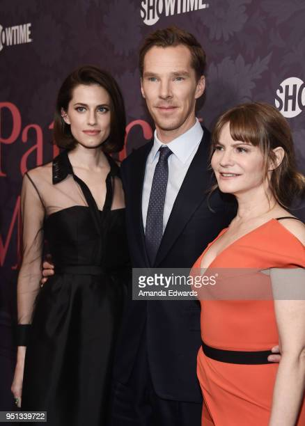 Actors Allison Williams Benedict Cumberbatch and Jennifer Jason Leigh arrive at the premiere of Showtime's 'Patrick Melrose' at the Linwood Dunn...