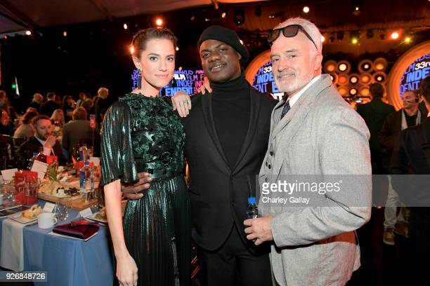 Actors Allison Williams Daniel Kaluuya and Bradley Whitford with Lindt Chocolate during the 2018 Film Independent Spirit Awards on March 3 2018 in...