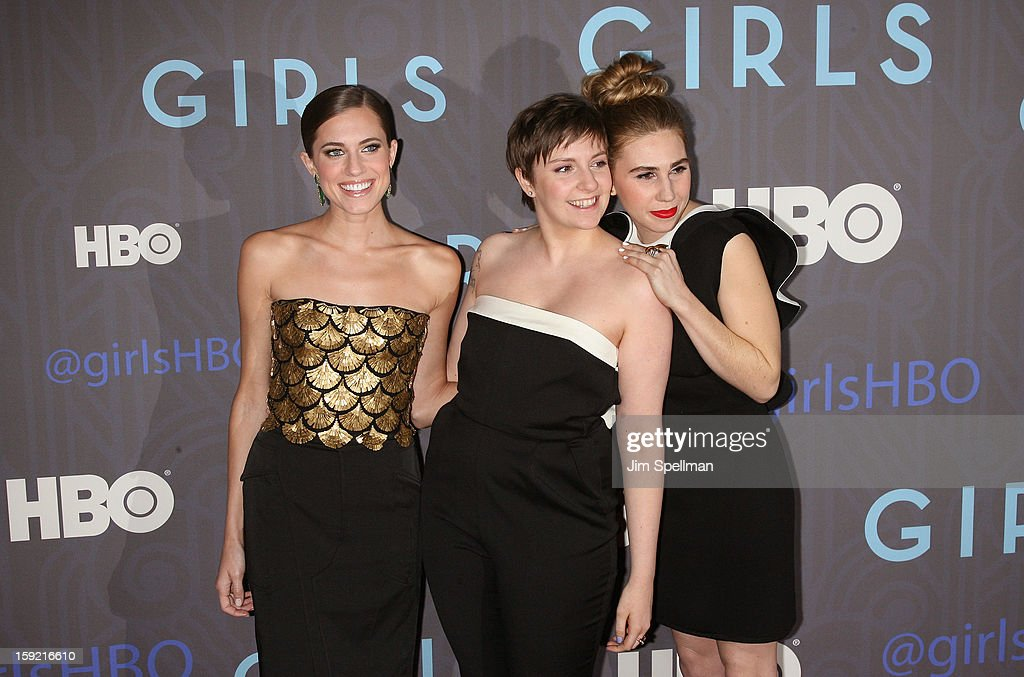 Actors Allison Williams, Lena Dunham and Zosia Mamet attend Cinema Society presents the world premiere of 'Girls' season 2 at NYU Skirball Center on January 9, 2013 in New York City.