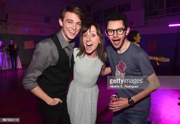 Actors Allisyn Ashley Arm Dylan Riley Snyder and Nick Pineattend the after party for a screening of A24's 'Eigth Grade' at Le Conte Middle School on...