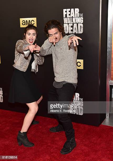 Actors Ally Ioannides and Aramis Knight attend the premiere of AMC's 'Fear The Walking Dead' Season 2 at Cinemark Playa Vista on March 29 2016 in Los...